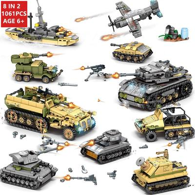 Assemble Bricks Toy for Kids World War 2 WW2 WWII Military Army Building Blocks