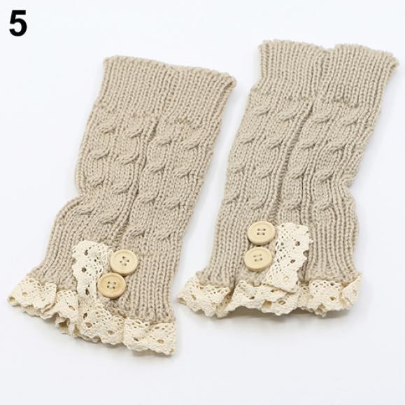 Nuevo las mujeres niña Crochet encaje Trim arranque puños acolchados ...