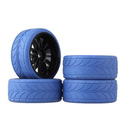4pcs RC1:10 On-Road Car Fish Scale Rubber Tires/&White Plastic 5-Spoke Wheel