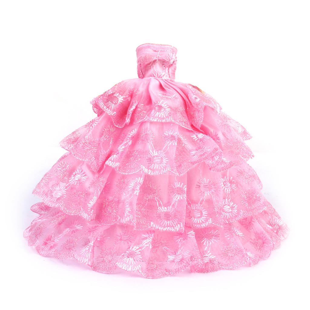 Novia novia vestido Floral de 4 capas de malla para muñecas de ...