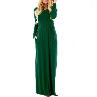 1d8dbf335 Vestidos de outono longo vestido longo sólido Slveeve Casual elegante  feminino roupas femininas