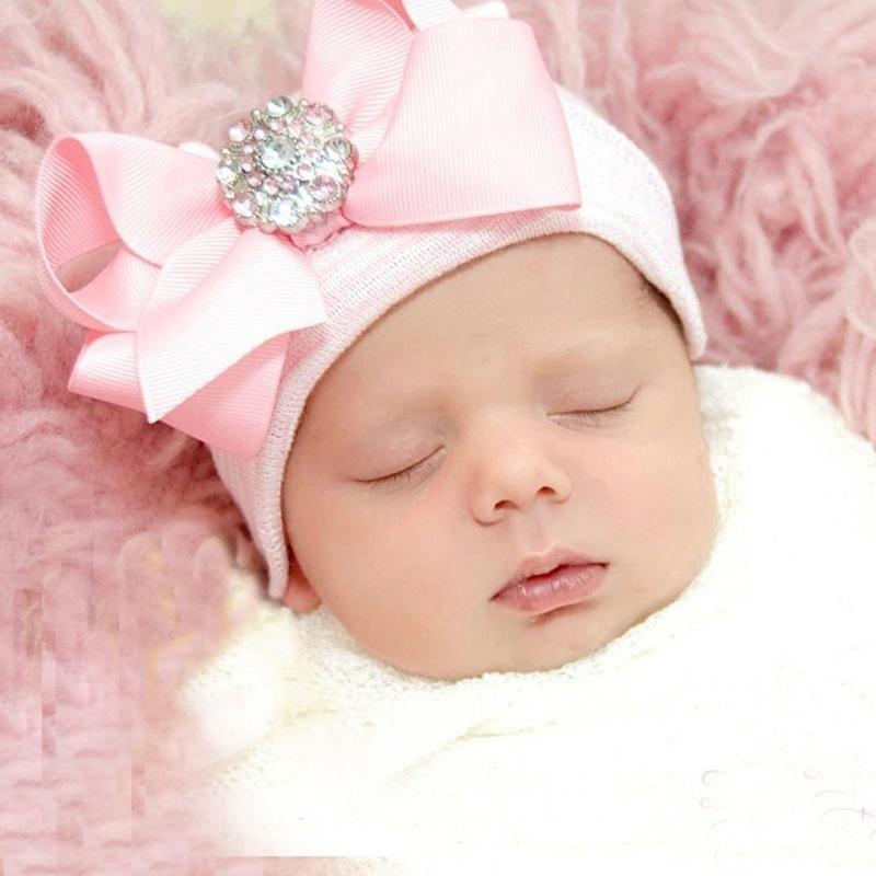 Baby Girls Infant Kids Warm Striped Soft Beanie Hat Bowknot Cap Hospital Newborn