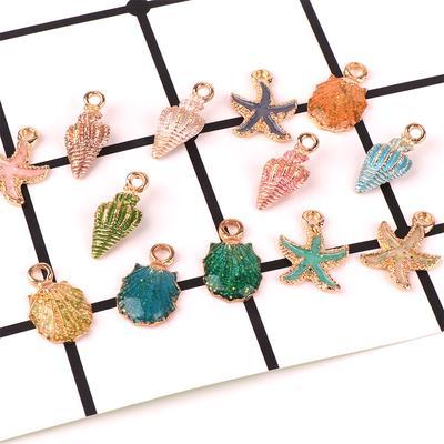 13 Pcs//Set Mixed Starfish Conch Shell Metal Charms Pendant Jewelry Making DIY