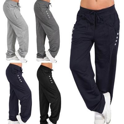 Women Trousers Elastic Waist Casual Loose Drawstring Long Pants Active Pants