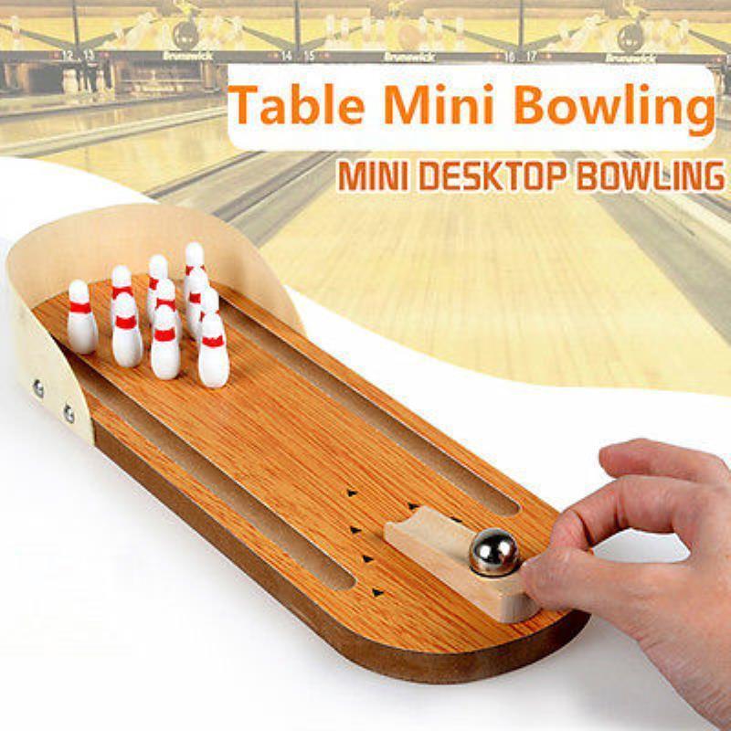 Mini Wooden Bowling Alley Ten Metal Pin Ball Desktop Bowling Game Set Desk Toys