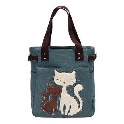cf4fcdd12911e Torebka damska torebka z torebką ze słodkim kotem, mała torba na zakupy  Zielona