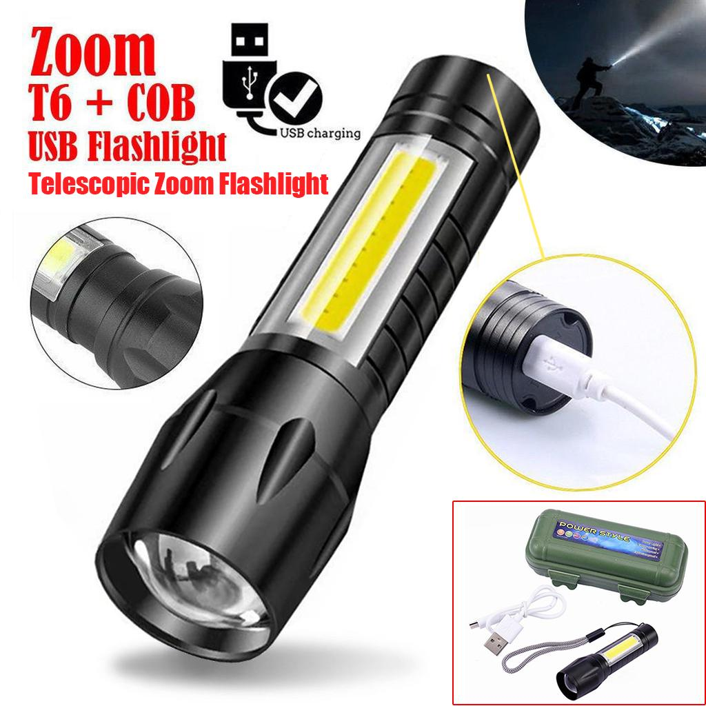 USB Lamp Torch COB Rechargable Zoomable Light T6 Night Rechargeable Accessories