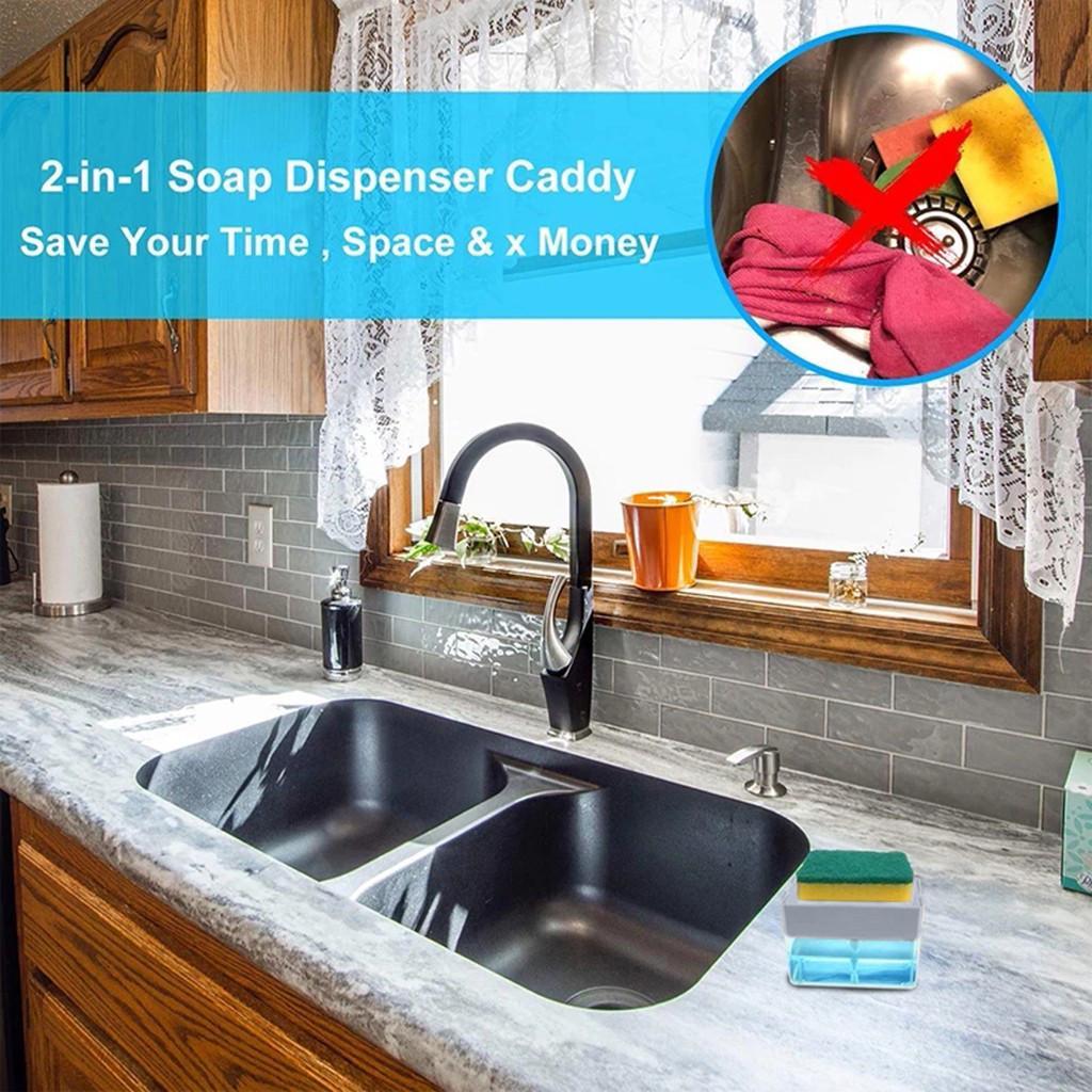 2 In 1sponge Rack Soap Dispenser Soap Dispenser And Sponge Caddy Buy At A Low Prices On Joom E Commerce Platform