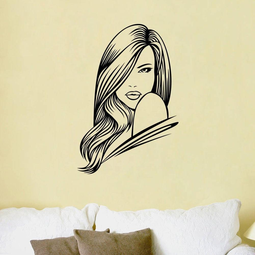 Long Hair Beauty Girl Wall Sticker Salon Poster Removable Mural ...