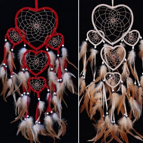 1Pc VINTAGE ATRAPASUEÑOS PLUMA de Corazón Perlas Colgante De Pared Decoración de Ventana Ornamento