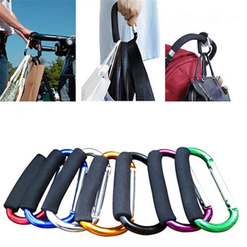 Carabiner Spring Hook Mummy Clip Camping Shopping Bag Carrier Hiking Buggy Pram