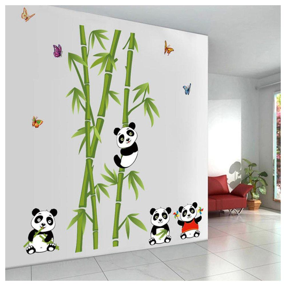Bamboo With Three Pandas Child Room Wall Sticker Decal Vinyl Art
