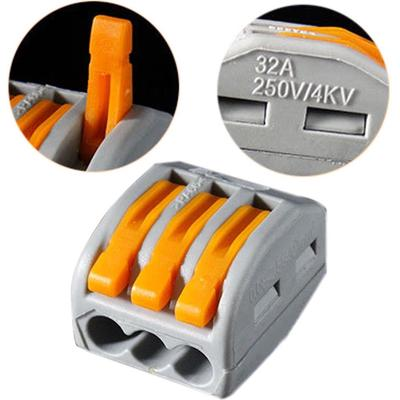 5//10X Spring Lever Terminal Block Electric Cable Wire Conector 2 3 5Way Reusable