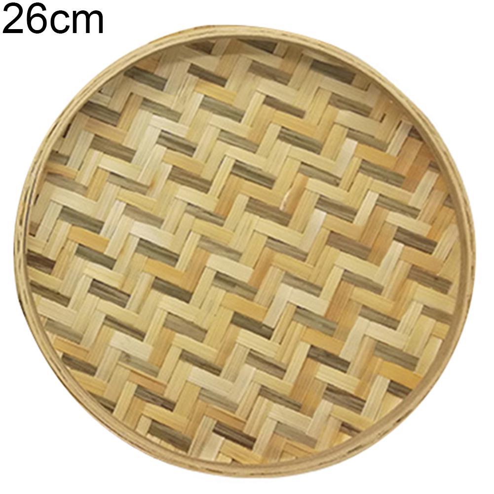 Weaving Sieve Bamboo Round Dustpan Handmade DIY Decor Fruit Bread Basket Storage