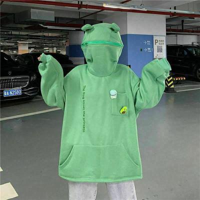 Women's Solid Color Hoodie Sweatshirt Women's Pullover Hooded Pullover Loose Frog Top