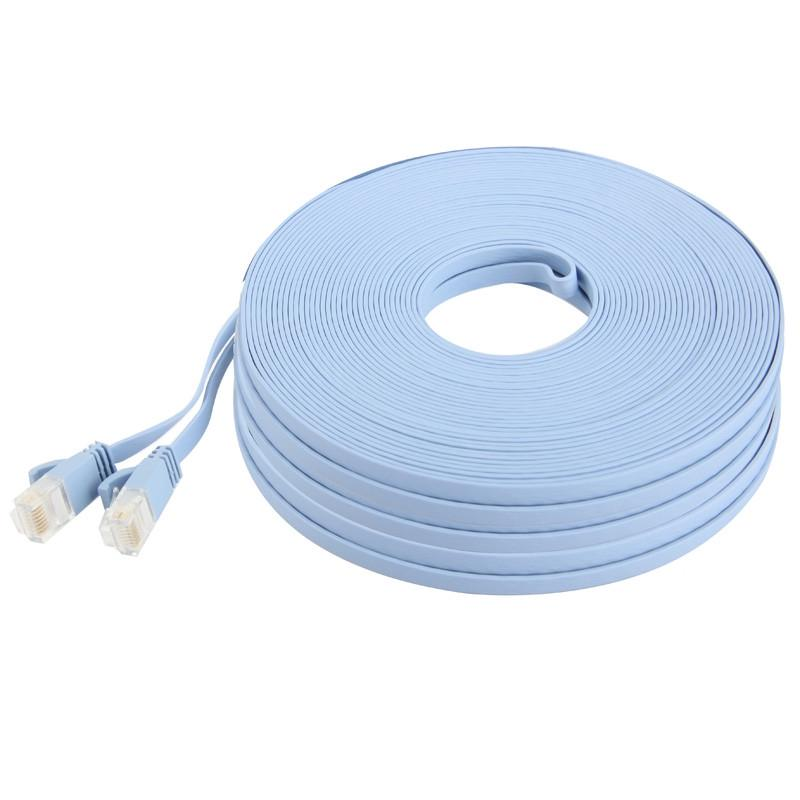 . LAN Cable CAT6 Ultra-Thin Flat Ethernet Network LAN Cable Baby Blue Length: 3m