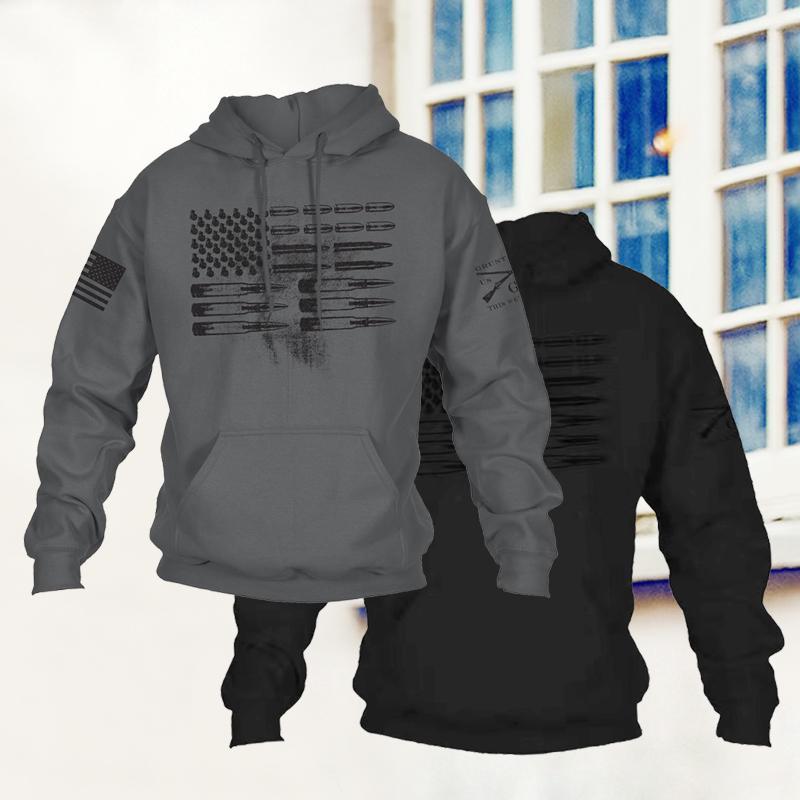 Men Charcoal Ammo Flag Sweater Patriot Sweatshirt Grunt Style Hoodie Plus Size