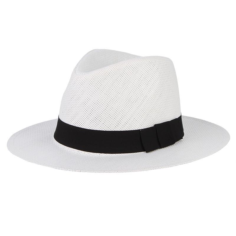 Vintage Jazz sombrero las mujeres hombres playa gorros paja sombrero Panamá  vaquero Fedora gángster tapa con cinta - comprar a precios bajos en la  tienda en ... 345973fc656