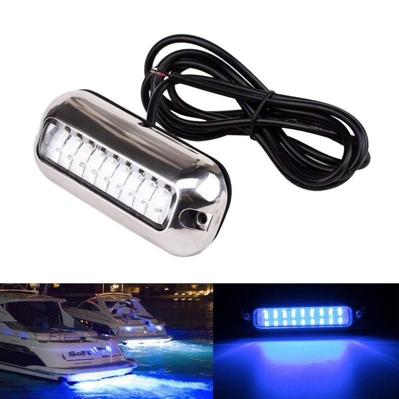 3.5 inch Stainless Light Blue LED Underwater Pontoon Marine Boat Transom Lights
