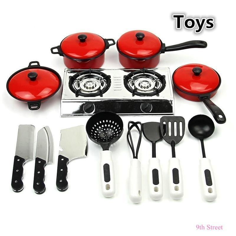 13pcs kids play toy kitchen utensils cooking pots pans food