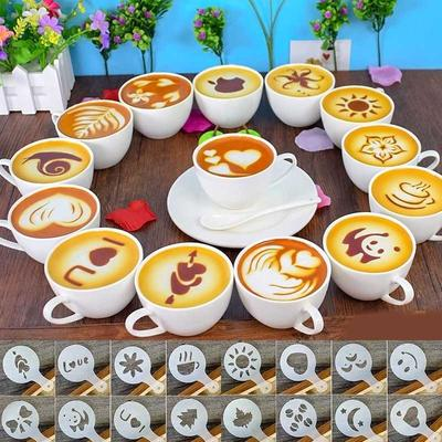 16Pcs/set Mixed Styles Cappuccino Latte Coffee Stencils Cake Decorative Model