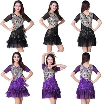 c32ae87c5c4 Latin Dance Costume Sequined Fringe Dress Cha Cha Rumba Salsa Samba Ballroom
