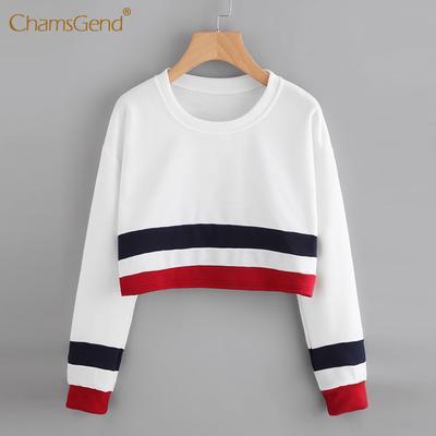 372455c51cb4a Чамсженд женская сексуальная полосатый шить с длинным рукавом короткий  блуза вершины Блузки