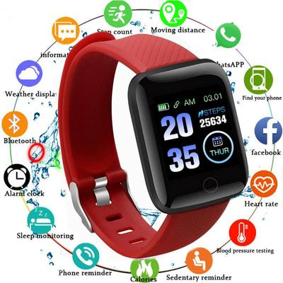 The 116 Plus Smartwatch with a 1.44 Inch Screen, IP67 Water Protection, a Pulsometer and Sleep Monitoring Functionality