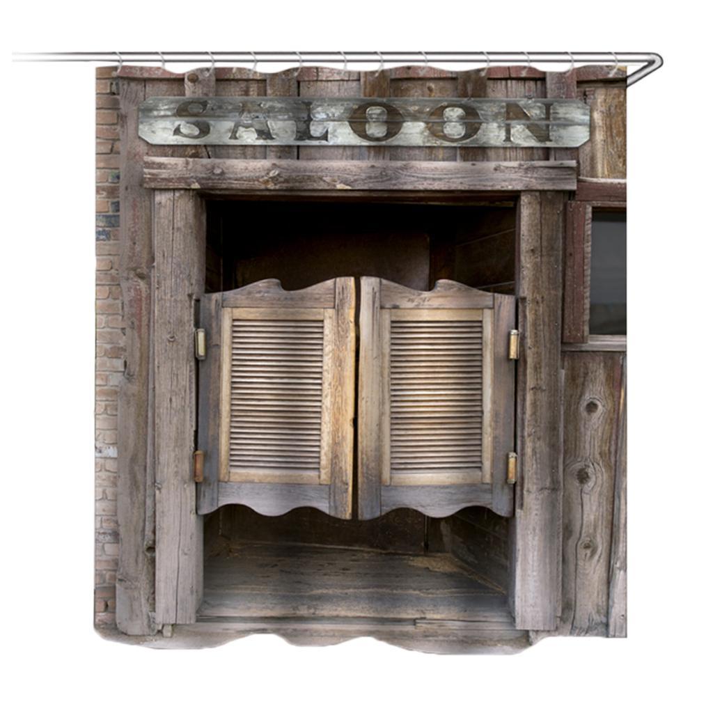 3D Old Vintage Wood Door Waterproof Bath Shower Curtain Rug Set Non-Slip Sh Z3O1