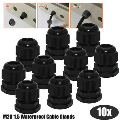 10 x 16mm Waterproof IP68 Compression Cable Stuffing Gland With Locknuts 5-10mm