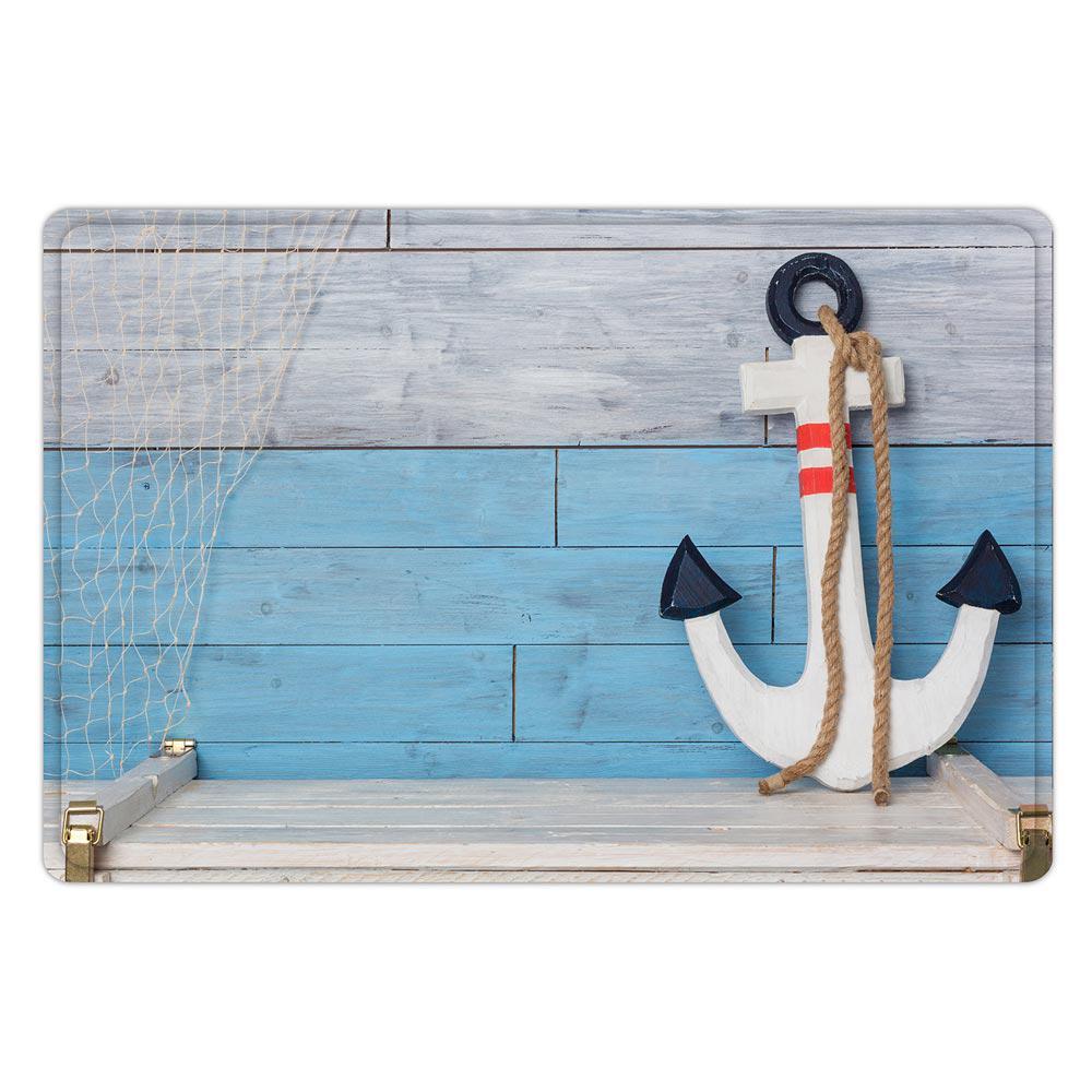 40x60cm ancla madera náutica blanca azul alfombra de baño ...