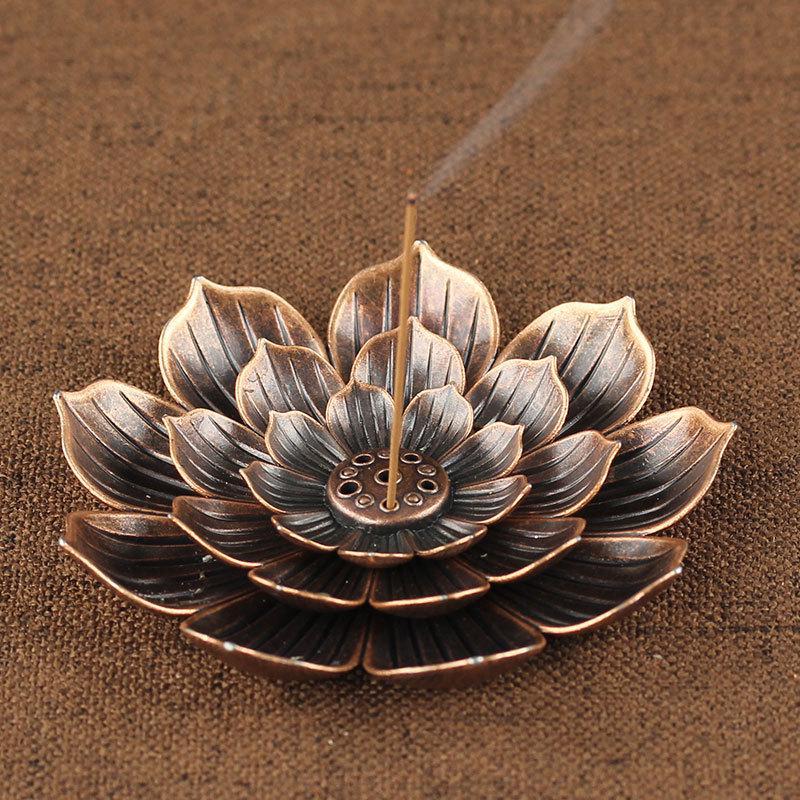 Vintage Chinese Lotus Bronze Metal Coil Burner-Incense Burner-Ornament Amazing