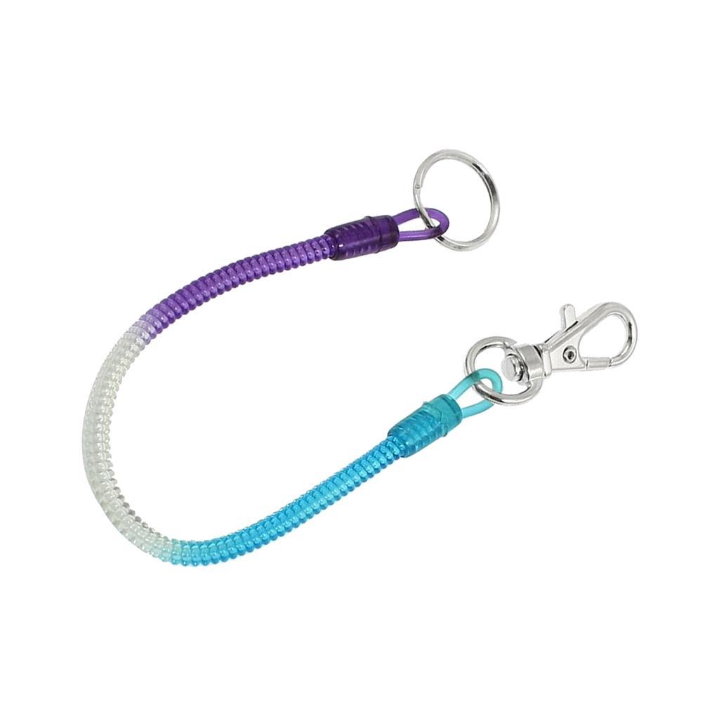 Plastik Spiral blau lila Schl/üsselband mit Karabiner Schl/üsselring Spirale DE