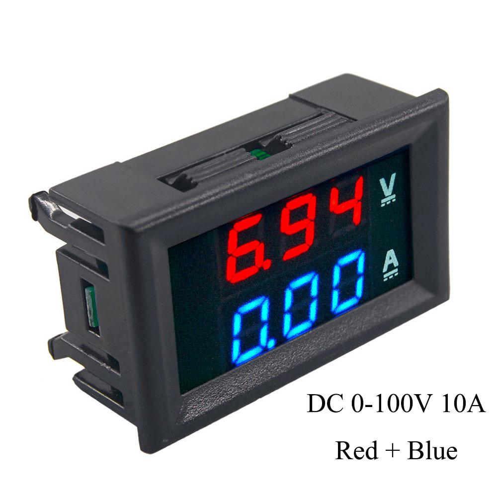 DC 0-200V 100V 10A 3//4 Bit  Red+Red Red+Blue LED Voltmeter Ammeter Amp Wires
