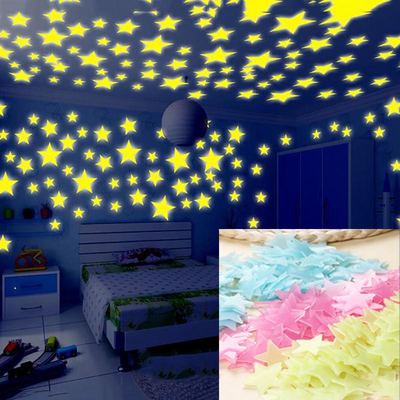 50PCS Kids Bedroom Fluorescent Glow In The Dark Snowflake Wall Stickers Gift