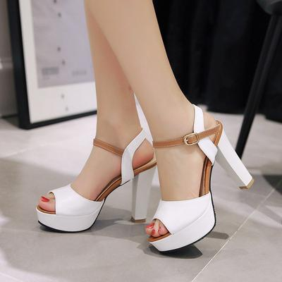 be77b6033 Women Thick Bottom Platform Rome Shoes High Heels Peep Toe Sandals Plus Size