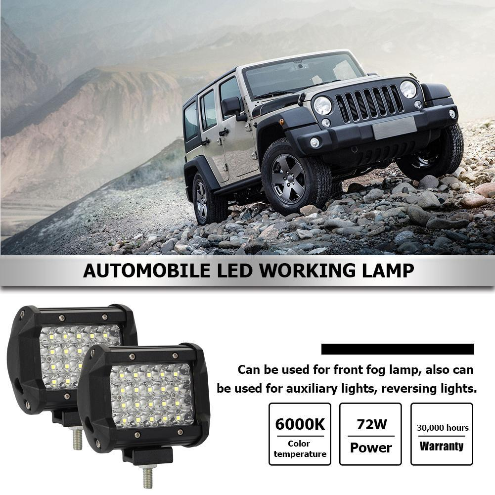 1X 72W Square LED Work Light Bar Spot Offroad Car Driving Lamp Truck SUV 4WD ATV
