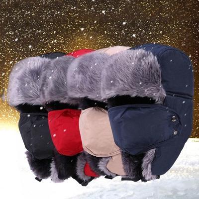 Winter Faux Fur Hats Outdoor Windproof Thick Warm Snow Women Men Cap Mask  Face Caps Cycling 012adbb7e5c1