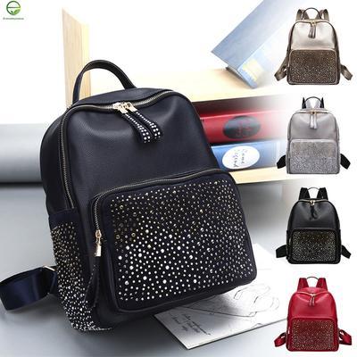 de Everydaytobuy la cuero de remache chica mujer mochila moda Bolsa viajes mochila escuela decoración qASCHx