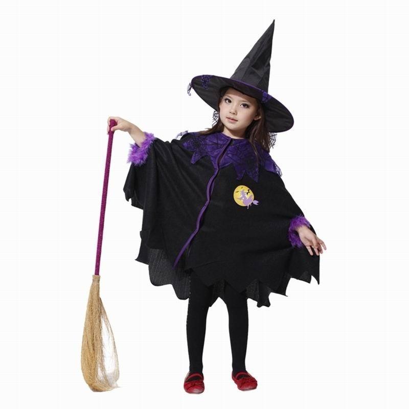 Kinder Mädchen Hexe Fledermaus Mantel + Hut Party Cosplay Kostüm ...