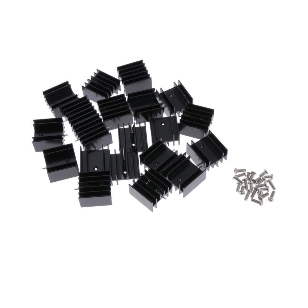 Shiwaki 20x Radiateur en Aluminium de Transistor 7805 de MOSFET 20x 24x16-40mm Caract/éristiques Stables Haute Fiabilit/é