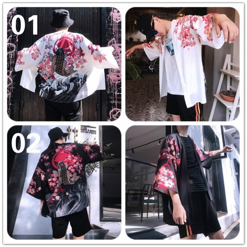 Men Kimono Cardigan Japanese Noragi Jacket Yukata Coat Ukiyoe Baggy Tops Fashion