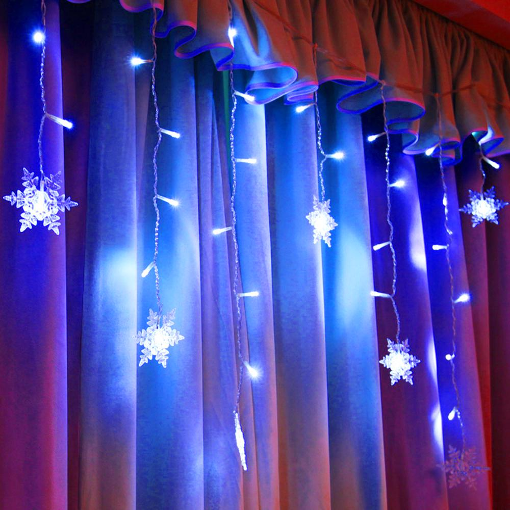 LED Snowflake Fairy String Lights Curtain Window Christmas Party Decor 8 Modes