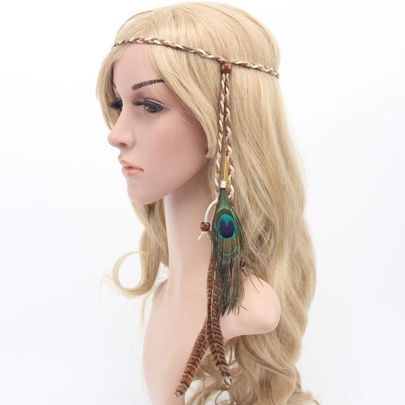 Retro Feather Headdress Hippy Indian Feather Headband Festival boho Hair band