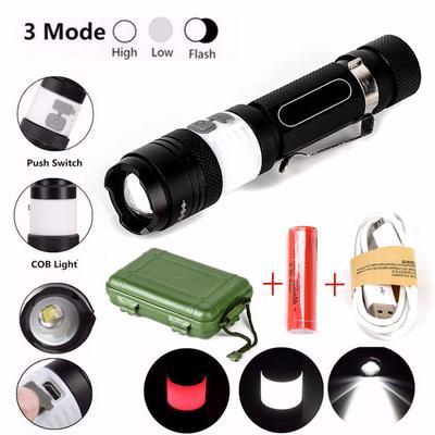 12000lm XML T6 LED Zoom Flashlight 18650 Torch USB Rechargeable Lamp Light Set
