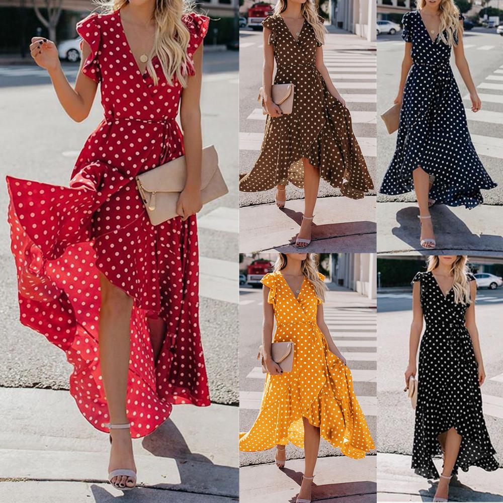 Женские точки Boho мини платье леди Бич летние Sundrss макси платье фото