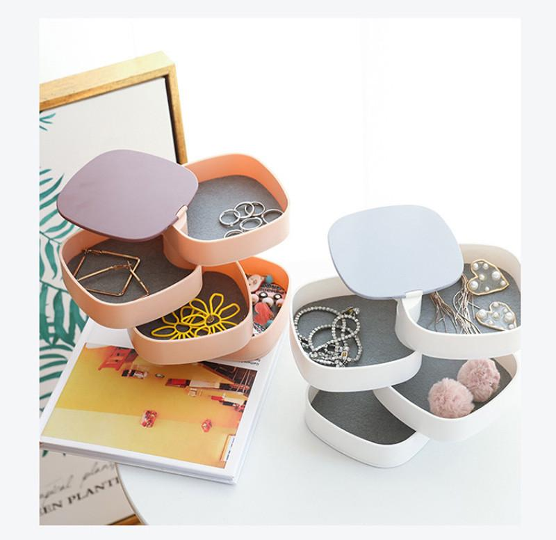 1 Pc Jewelry Rotatable Container Box Jewelry Case for Home Store Desktop Jewelry