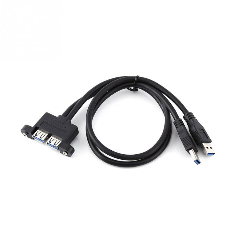 Cable Length: 150CM Cables Combo Dual USB 3.0 Male to Female Extension Cable with Screw Socket Panel Mount Holes Occus