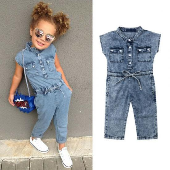 Детский джинсовый комбинезон для девочек, с коротким рукавом фото