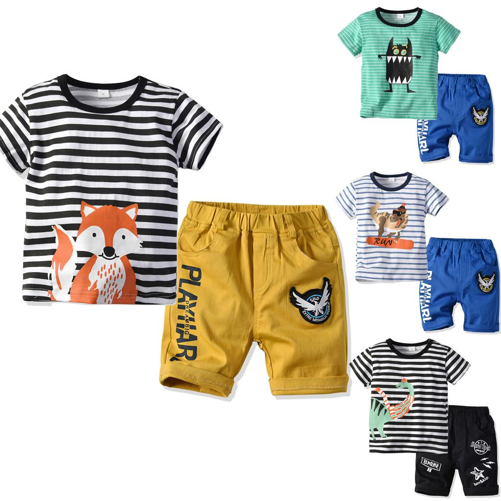 2PCS Toddler Infant Baby Boys Short Sleeve Cartoon Elephant Print Stripe Hooded Tops+Shorts Outfits Set